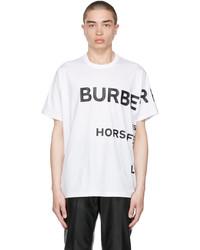 Burberry White Oversized Horseferry Print T Shirt