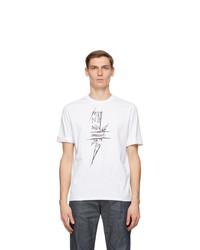 Neil Barrett White Scribble Bolt T Shirt