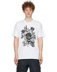 Alexander McQueen White Skull Leaves T Shirt
