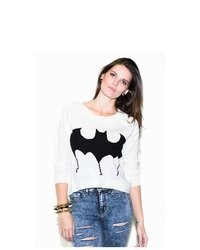 Soho Girl Batman Print Sweater In White