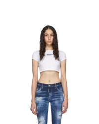 Dsquared2 White Bella Fit Crop T Shirt