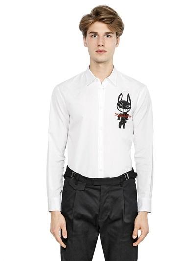 Men's Fashion › Shirts › Dress Shirts › White and Black Print Dress Shirts  DSQUARED2 Dog Printed Cotton Poplin Shirt ...