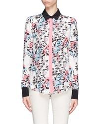 Floral print drape back silk blouse medium 141844