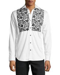 Bogosse Floral Print Tuxedo Sport Shirt Blackwhite