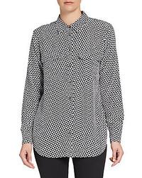Rotated triangle print silk crepe blouse medium 141843