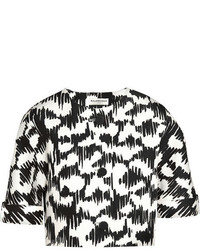 Cropped printed mikado jacket medium 208437