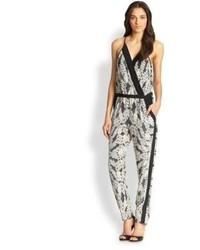 Shany silk printed wrap effect jumpsuit medium 95823