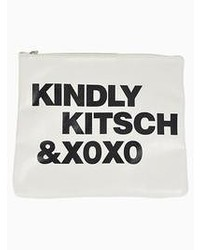 Letter print clutch bag in white medium 54272