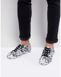 White and Black Print Leather Low Top Sneakers