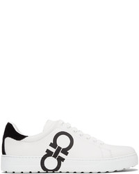Salvatore Ferragamo White Gancini Number Sneakers