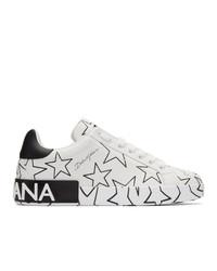 Dolce and Gabbana White Millennial Star Portofino Sneakers