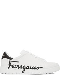 Salvatore Ferragamo White Naruto Low Top Sneakers