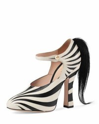 Gucci Lesley Ponytail Mary Jane Pump Blackwhite