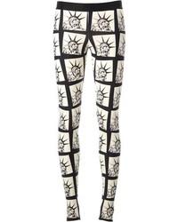White and Black Print Leggings