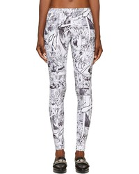 Alexander ueen greyscale manga print stretch leggings medium 118205
