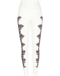White scuba lace side print leggings medium 69660