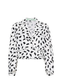 White and Black Print Long Sleeve Blouse