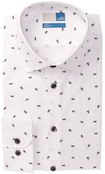 6c00ddc53fd8 Men's Fashion › Shirts › Long Sleeve Shirts › Nordstrom Rack › White and  Black Print Long Sleeve Shirts 14th Union Ant Printed Trim Fit Dress Shirt  ...