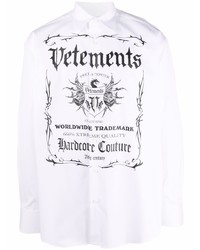 Vetements Logo Print Relaxed Fit Shirt