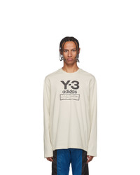 Y-3 Off White Stacked Logo Long Sleeve T Shirt