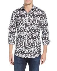 Bugatchi Shaped Fit Swirl Print Sport Shirt