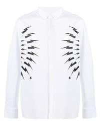 Neil Barrett Thunderbolt Print Cotton Shirt