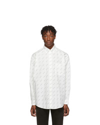 Balenciaga White And Black Allover Logo Shirt