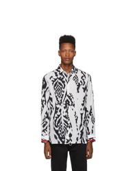 Neil Barrett White And Black Chaotic Print Shirt