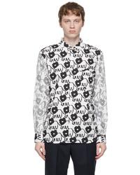 Comme des Garcons Homme Deux White Black Dye Print Shirt