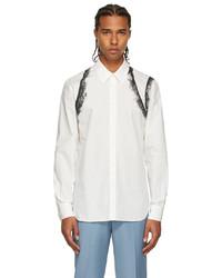Alexander McQueen White Black Lace Graphic Shirt