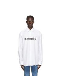 Vetements White Front Logo Shirt