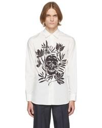 Alexander McQueen White Poplin Skull Leaf Print Dropped Shoulder Shirt