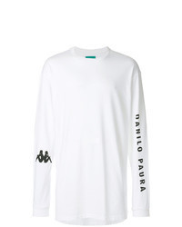 White and Black Print Long Sleeve T-Shirt