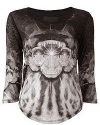 Les claires animal print long sleeve top medium 51596