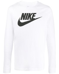 Nike Logo Print Long Sleeved T Shirt