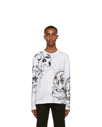 Alexander McQueen White And Silver Skull Long Sleeve T Shirt