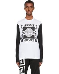Versace White Black Medusa Long Sleeve T Shirt