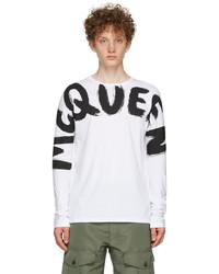 Alexander McQueen White Graffiti Kimono Sleeve Long Sleeve T Shirt