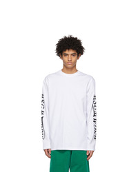 MSGM White Logo Long Sleeve T Shirt