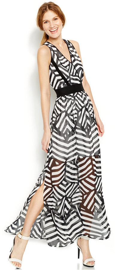 129 Calvin Klein Animal Print Maxi Dress