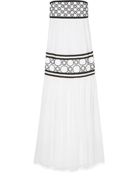Tory Burch Christie Gros And Guipure Med Silk Tte Maxi Dress