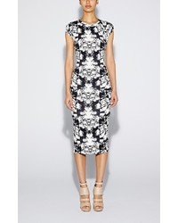 White and Black Print Midi Dress