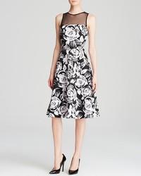 Aqua Dress Sketch Rose Illusion Midi