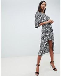 ASOS DESIGN Knot Front Midi Kimono Dress In Zebra Animal Print