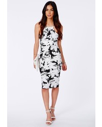 Missguided Ybanez Monochrome Palm Print Midi Dress