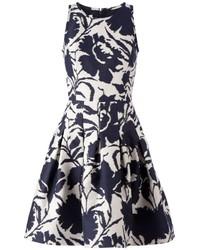 Oscar de la Renta Flower Print Flared Dress