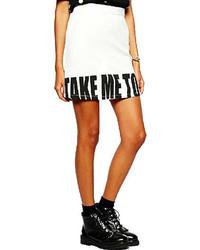 White and Black Print Mini Skirt
