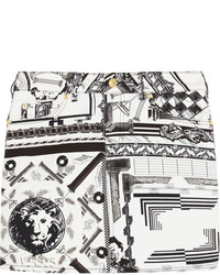 Versus Anthony Vaccarello Printed Stretch Cotton Twill Mini Skirt