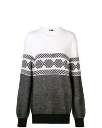 Z Zegna Contrast Geometric Pattern Sweater