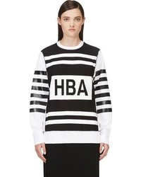 Hood by Air Ssense Black White Striped Sweatshirt